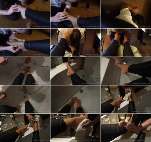 Goddess Amber starring in video (Loser Washing My Feet) [FullHD 1080P]